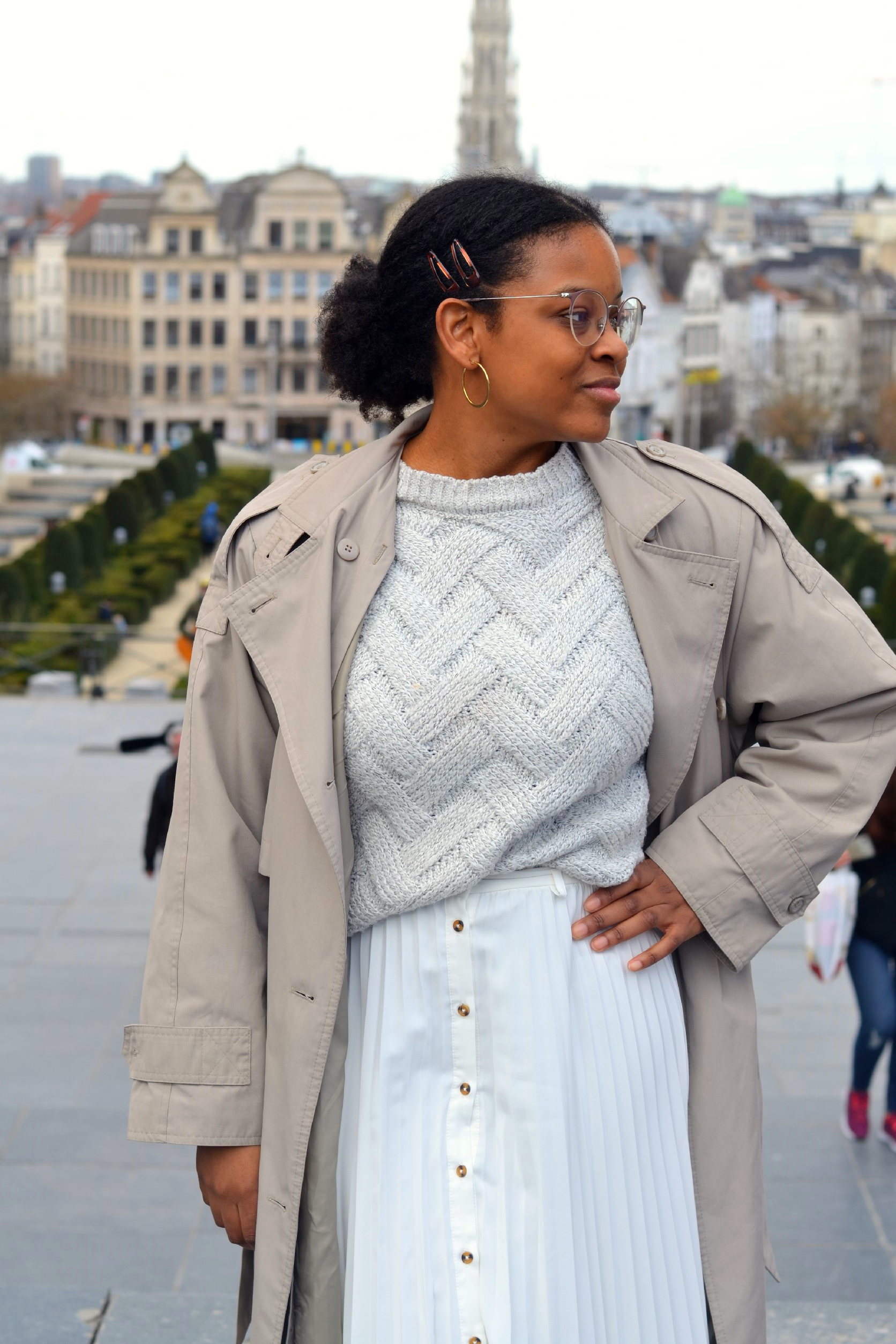 Trench and white skirt